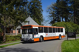 Lewis & Clark College - Pioneer Express shuttle bus starting a trip to downtown Portland, in 2016