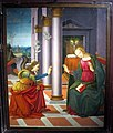 Pittore ghirlandaiesco, annunciazione, 1495-95, da s. romolo a gaville (figline).JPG