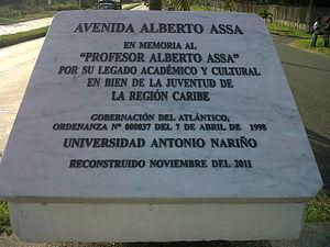 Alberto Assa - Plaque of the Alberto Assa avenue.