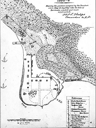 Battle of Seattle (1856) - Map of Seattle during the battle, drawn by Lieutenant Phelps of the USS Decatur