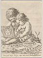 Plate 1- two children sitting on the ground, the child on the right drawing while the child on the left holding the album, the title page from 'The Book for Learning to Draw' (Livre pour apprendre à dessiner) MET DP831130.jpg