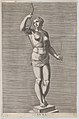 Plate 7- Diana; statue of the nude goddess standing on a socle, wearing a crescent moon in her hair and holding a bow and arrow; from 'Statues of Roman Gods' after Jacques Jonghelinck MET DP874722.jpg