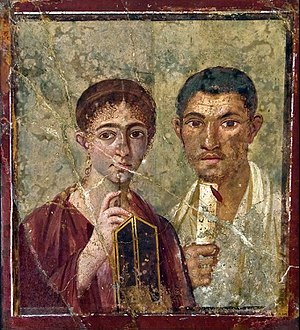 Primary source - This wall painting found in the Roman city of Pompeii is an example of a primary source about people in Pompeii in Roman times. (Portrait of Paquius Proculo)