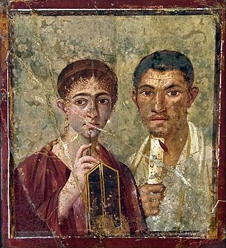 House of Julia Felix - Portrait of a Pompeian couple inside the home of Julia Felix. (Portrait of Paquius Proculo)