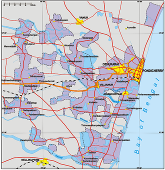 Puducherry district - Geographically, the district of Pondicherry is highly fragmented as it was during the colonial period.
