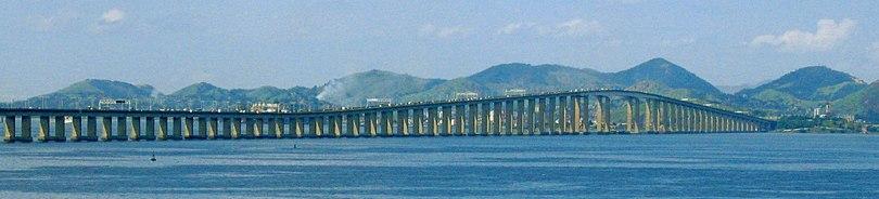 Vista panorâmica da Ponte Rio-Niterói, Brasil.