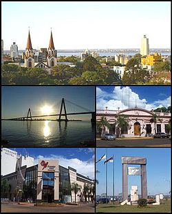 (From top to bottom; from left to right) Panoramic view of the city; San Roque Bridge; Misiones Government House; Posadas Plaza Shopping Centre and the Malvinas Monumet)