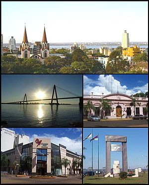 Posadas, Misiones - (From top to bottom; from left to right) Panoramic view of the city; San Roque Bridge; Misiones Government House; Posadas Plaza Shopping and Monument to Malvinas.
