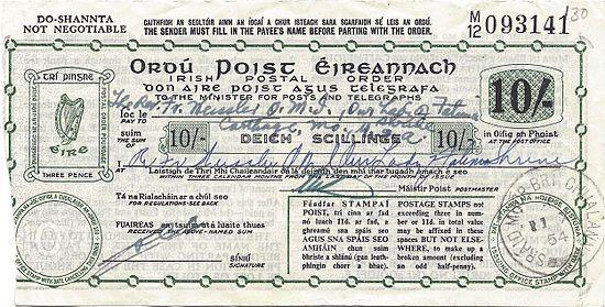 1954 Issued Postal Order With U0027DO SHANNTAu0027
