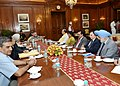 Pranab Mukherjee meeting with the Union Minister for Finance, Corporate Affairs and Defence, Shri Arun Jaitley and the Minister of State for Commerce & Industry (Independent Charge), Finance and Corporate Affairs.jpg