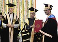 Pranab Mukherjee presenting the Doctor of Science (Honoris Causa) to the eminent Physicist, Dr. Ashoke Sen, at the 45th Annual Convocation of Indian Institute of Technology, Kanpur.jpg