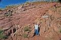 Precambrian-Pennsylvanian nonconformity (Red Rocks Amphitheater, west of Denver, Colorado, USA).jpg