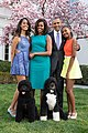President Barack Obama, First Lady Michelle Obama, and daughters Malia and Sasha pose for a family portrait with Bo and Sunny in the Rose Garden of the White House.jpg