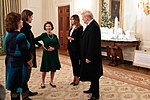 President Donald Trump and Melania Trump talk with Laura Bush.jpg