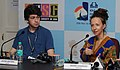 """Press conference by Director of the Film """"I am a good person I am bad person"""", Ingrid Veninger, at the 43rd International Film Festival of India (IFFI-2012), in Panaji, Goa. Actor Jacob Switzer is also seen.jpg"""