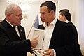 Prezident udelil štátne vyznamenania 15. osobnostiam - Dominik Hrbatý a Ivan Gašparovič.jpg