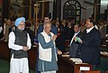 Prof. Muhammad Yunus with the Prime Minister, Dr. Manmohan Singh arrives at the Parliament House to deliver the Second Prof. Hiren Mukherjee Memorial Lecture, in New Delhi on December 09, 2009.jpg