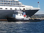 Protector approaching the Bow of Queen Elizabeth in Port of Tallinn 3 August 2018.jpg