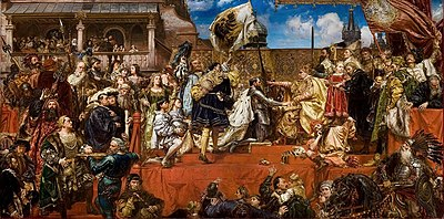 """""""The Prussian Tribute"""": Albert and his brothers receive the Duchy of Prussia as a fief from the Polish King, Sigismund I the Old in 1525 (painting by Jan Matejko, 1882)"""