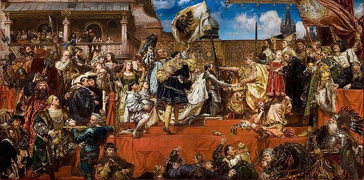 Prussian Homage by Jan Matejko. After admitting the dependence of Prussia to the Polish Crown, Albert of Prussia receives Ducal Prussia as a fief from King Sigismund I the Old of Poland in 1525 Prussian Homage.jpg