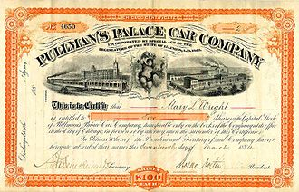 Pullman Company - Pullman's Palace Car Co. capital stock certificate (1884)