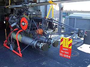 Gyrodyne QH-50 DASH - A QH-50C DASH drone with two torpedoes on the Gearing-class destroyer USS Joseph P. Kennedy (DD-850)