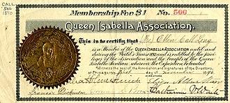 Queen Isabella Association - Queen Isabella Association membership certificate for Ellen Call Long