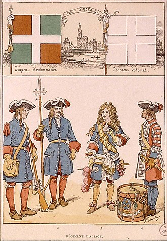 Battle of Sant Esteve d'en Bas - Grenadier, sergeant, officer and drummer of the régiment d'Alsace in 1696, by Alfred Touchemolin