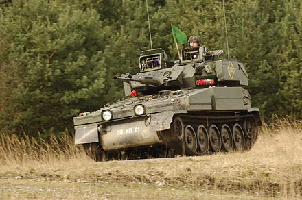 A tracked FV107 Scimitar as used by armoured reconnaissance regiments of the British Army RDG Scimitar on Hohne Ranges 2007.JPG