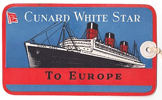 "Cunard-White Star Line - Cunard White Star ""Queen Mary"" baggage tag"