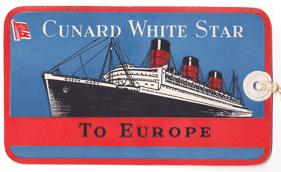 RMS QUEEN MARY Cunard White Star 1949 Baggage Tag