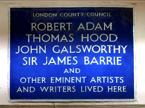 Robert adam thomas hood john galsworthy sir james barrie and other eminent artists and writers lived here
