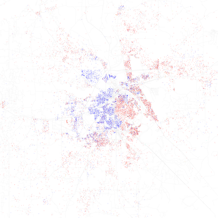 Map of racial distribution in Shreveport, 2010 U.S. Census. Each dot is 25 people: White, Black, Asian, Hispanic or other (yellow) Race and ethnicity 2010- Shreveport (5560435458).png