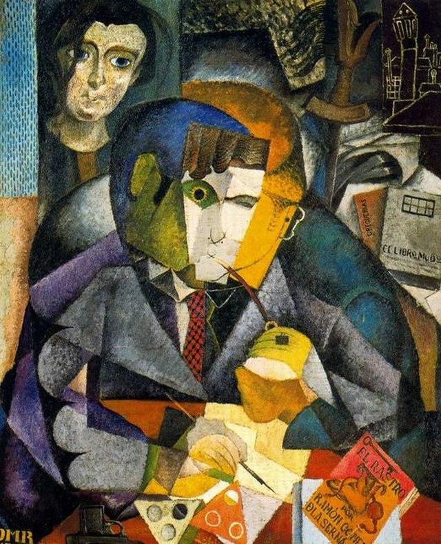 Retrato cubista del escritor español Ramón Gómez De la Sena por el pintor mexicano Diego Rivera