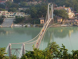 Ram Jhula, Rishikesh - Ram Jhula Bridge view from Muni Ki Reti