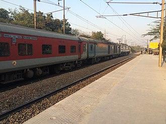 Ranchi Rajdhani Express - Image: Ranchi Rajdhani passing Anand Vihar with a WAP 7 locomotive