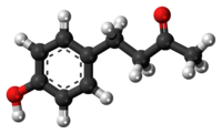 Ball-and-stick model of raspberry ketone