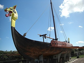 Norse activity in the British Isles - A 20th century replica of a Viking longship, known as the Hugin