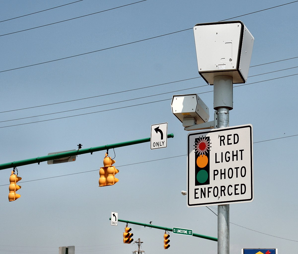 Red light camera system at the Springfield, Ohio intersection of Limestone and Leffels.