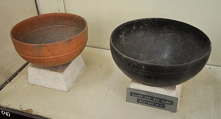 Black and Red Ware, Sonkh, Uttar Pradesh. Government Museum, Mathura. Red and Black Ware - Sonkh - Showcase 6-15 - Prehistory and Terracotta Gallery - Government Museum - Mathura 2013-02-24 6467.JPG