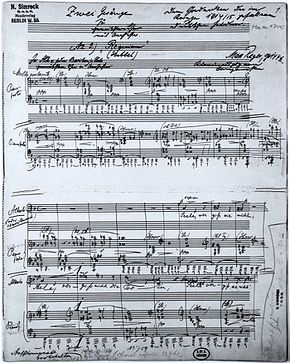 Page of sheet music, the autograph of Reger's Requiem of 1915, with handwritten title and dedication on the lines for musical notation