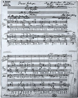 Requiem (Reger) - First page from the autograph of the piano version of the Requiem, with title and dedication