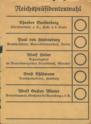 German presidential election, 1932 - Election ballot