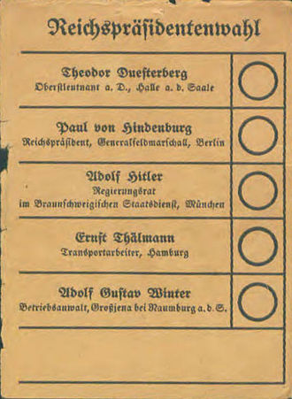 1932 German presidential election - Election ballot