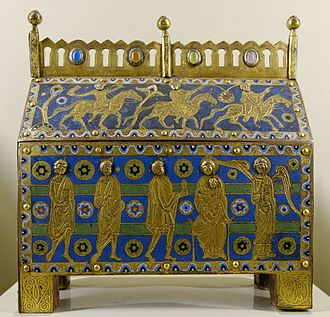 Chasse (casket) - Limoges enamel chasse, c. 1200, with the story of the Three Magi.