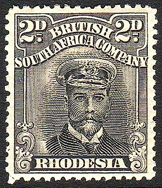 "Postage stamps and postal history of Zimbabwe - 1913 stamp of British South Africa Company also inscribed ""Rhodesia""."