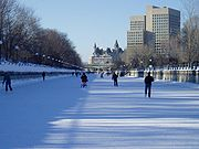 The Rideau Canal serves as a waterway in summer and a skating rink in winter.