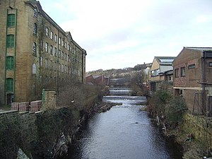 River Colne, West Yorkshire - The River Colne at the bottom of Chapel Hill just out of the Huddersfield Town Centre,the mill on the left is Folly Hall Mill built in 1822 by Joseph Kaye
