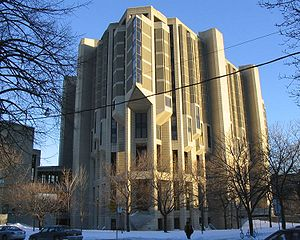 Robarts Library - Robarts Library as viewed from its northwestern corner. The connection to the Claude Bissell Building is visible at left