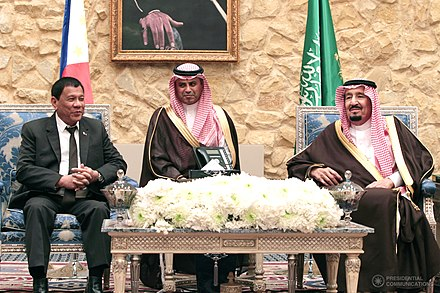 Duterte meets with King Salman of Saudi Arabia in April 2017 Rodrigo Duterte meets with Salman of Saudi Arabia (2017-04-11).jpg